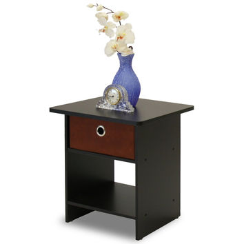 Dark Espresso Finish Nightstand End Table with Bin Drawer