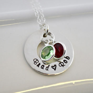 Personalized Hand Stamped Mother Child Necklace with Birthstones
