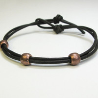 Mens bracelet - Men's leather bracelet - Copper-color pewter beads on dark-brown leather - Gift for him - Fathers Day gift (Ready to ship)