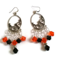 San Francisco Giants Inspired Swarovski Crystal Chandelier Earrings in Silver