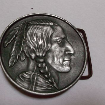 Indian Vintage Pewter Belt Buckle Metalcraft