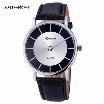 Susenstone Luxury Women Watch Silver Dial Fashion Casual Women Quartz-Watch Elegant Ladies Clock Relogio Feminino saat erkekler