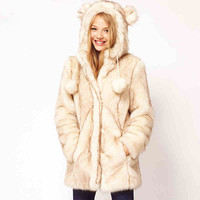 New European Women Faux Fur Coats Wome Hooded Faux Fur Coats Warm Winter Coats