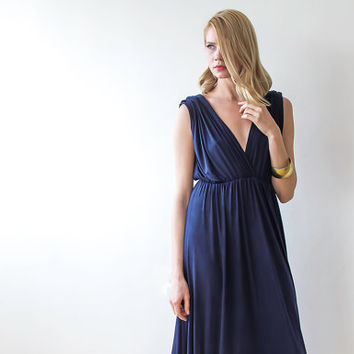 Perfect maxi navy blue dress , Bridesmaids maxi blue dress,  Navy blue  maxi dress , Plus size blue dress