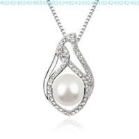 YCJ Women's Rhodium Plated Alloy Pendant Necklace:Pearl and Wings Theme Color White:Amazon:Jewelry