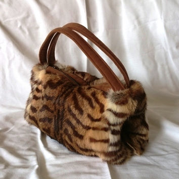 Muff handbag rabbit fur tiger printed, original purse, fashion trendy fur muff, handmade fur handbag, fur purse made in France