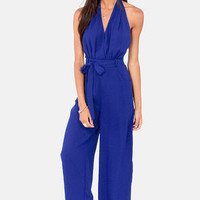 Hop Skip and Jumpsuit Backless Blue Jumpsuit