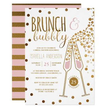 Gold & Pink Brunch & Bubbly Wedding Bridal Shower Card