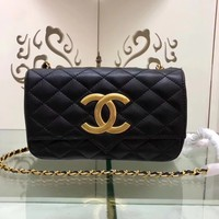 New CHANE SIZE 19.5 *12*5 CM Double C Women Leather silver and gold on Chain cross body bag Chane vintage Chanl jumbo   Fashion Handbag Neverfull Tote Shoulder Bag Wallet Messenger Bags