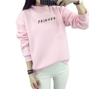 2018 new women's FRIENDS head warm winter casual solid color letter wide flower woman Hoodies Sweatshirts
