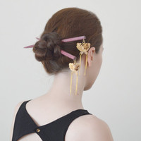 gold butterfly hair sticks kanzashi japanese hair pin