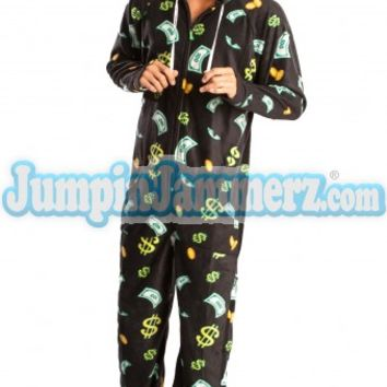Cash Money Hooded Adult Pajamas- Hooded Footed Pajamas - Pajamas Footie PJs Onesuits One Piece Adult Pajamas - JumpinJammerz.com