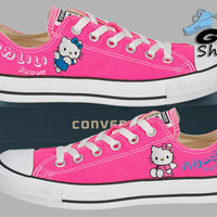 Hand Painted Converse Lo. Hello Kitty. Sanrio  Anime. Kawaii. Pink. Handpainted shoes.