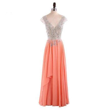 Backless Cap Sleeve Beaded Chiffon Long Evening Dresses Long Party Dress