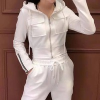 """ Gucci"" Woman's Leisure Fashion Letter Personality Printing Zipper Pocket Long Sleeve Hooded Tops Trousers Two-Piece Set Casual Wear"