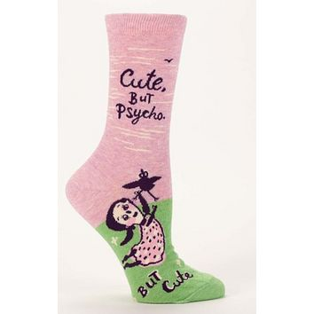 Cute, But Psycho Women's Crew Socks in Pink and Green