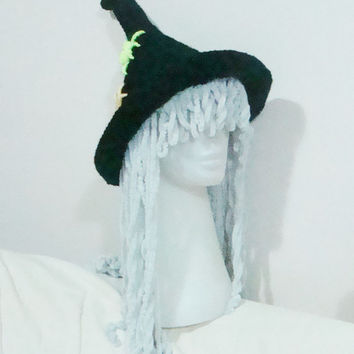 Witch Hat Women Black, Neon Yellow, Mustard Yellow, Grey Hair Crocheted Women's Costume Gifts for Her