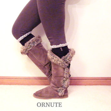 Knee High Lace Boot Socks - Women/Teen Lacey Socks with Ruffles- Brown Lacy Button Boots Socks - Brown Lace Socks