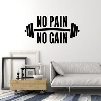 Vinyl Wall Decal No Pain No Gain Gym Quote Phrase Fitness Club Decor Stickers Mural (ig5383)