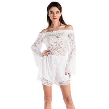 DCCKLW8 2XL Loose shorts off shoulder sexy Beach clothing Lace Playsuits 2016 summer beachwear Plus Size cover up white Bodysuits