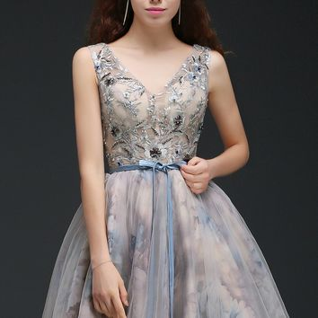 Girls dresses Homecoming Dresses Summer a line Beading cocktail party dress Short Mini Tulle homecoming dress