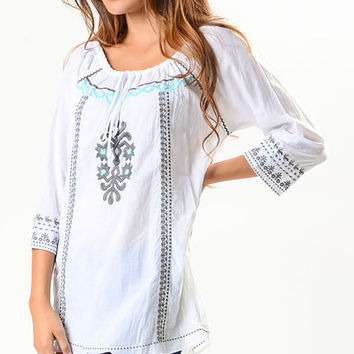 Como No? by Biz White & Blue Embroidered Peasant Top | zulily