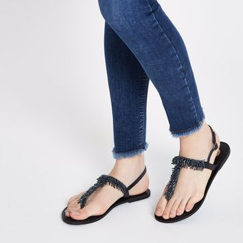 Black bead embroidered sandals - Sandals - Shoes & Boots - women