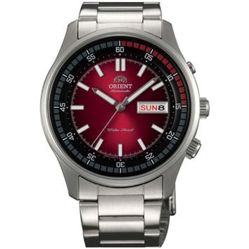 Orient EM7E005H Men's Marshall Black & Red Dial Stainless Steel Power Reserve Automatic Watch