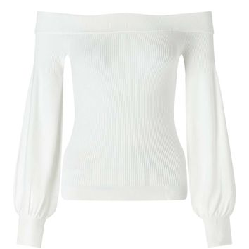 Cream Bardot Balloon Sleeve Knitted Top | Missselfridge