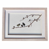 Bird family wall art, Birthday, anniversary, new home housewarming, Christmas gift, Framed Beach Stones 3DArt, Pebble art family of 3 gift