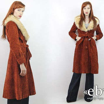 Vintage 70s Faux Suede Shearling Almost Famous Coat S Hippie Coat Hippy Coat Boho Coat Vegan Leather Coat Penny Lane Coat 1970s Coat