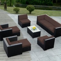 Ohana 10-Piece Outdoor Wicker Patio Furniture Sofa Set with Free Patio Cover, Brown (PN1001BR)