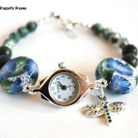 Blue Flower and Dragonfly Charm Watch Green Tree Agate Polymer Clay