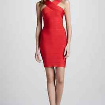 Celebrity Sexy bodycon cocktail evening party bandage dress sleeveless Red