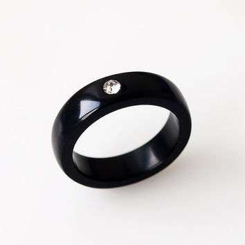 Corian ring, Black ring, Black jewelry, Black band ring, Clear crystal, Black wedding ring, Engagement ring, Black women ring, Black stone