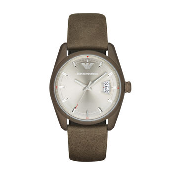 ARMANI WATCH TERRA TONES MEN SPORT LEATHER NEW TAZIO STAINLESS STEEL AR6079