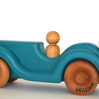Personalized Wood Toy Car - Ocean Blue - Waldorf Wooden Toy