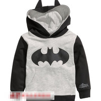 Retail! 1PC 2014 New Arrival Spring Autumn Child Boys Hoodies Long Sleeve batman T-shirts children sport sweatshirt