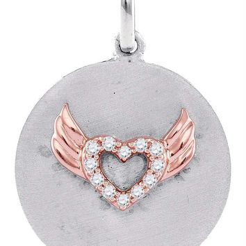 Sterling Silver Women's Round Diamond Angel Wings Heart Medallion Pendant 1-20 Cttw - FREE Shipping (US/CAN)