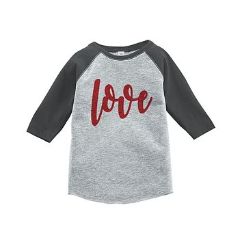 Custom Party Shop Kids Love Happy Valentine's Day Grey Raglan