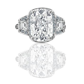 4 ct. Cushion radiant center halo setting Sterling Silver ring w/side tapered baguettes 635R71567