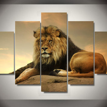Great Lion Wisdom 5-Piece Wall Art Canvas