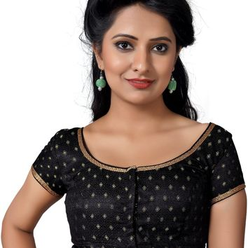 Black Brocade Designer Saree Blouse SNT-X-433-SL