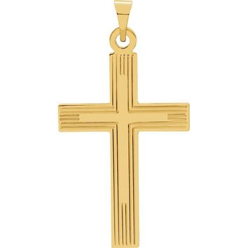14k Yellow Gold Latin Cross Charm Pendant - 25mm