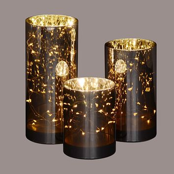 Set of 3 Gold Decorative Galaxy Night LED lighted Glass Jar Decorations