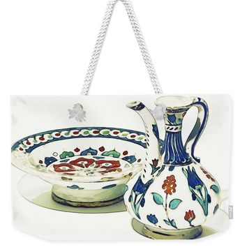 An Ottoman Iznik Style Floral Design Pottery Polychrome, By Adam Asar, No 4a - Weekender Tote Bag