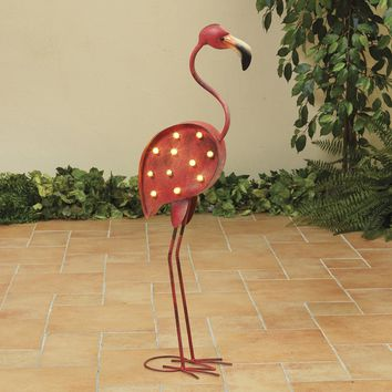 Pink Flamingo Lighted Metal Yard Art, Battery Operated With Timer, 33 Inches High