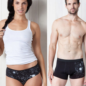 HIS and HERS SET!!! Glow-in-the-Dark Solar System Underwear Trunks Bikinis