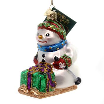 Old World Christmas Snowman On Skis Glass Ornament