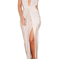 Ivory White V-Neck Halter Backless Maxi Dress